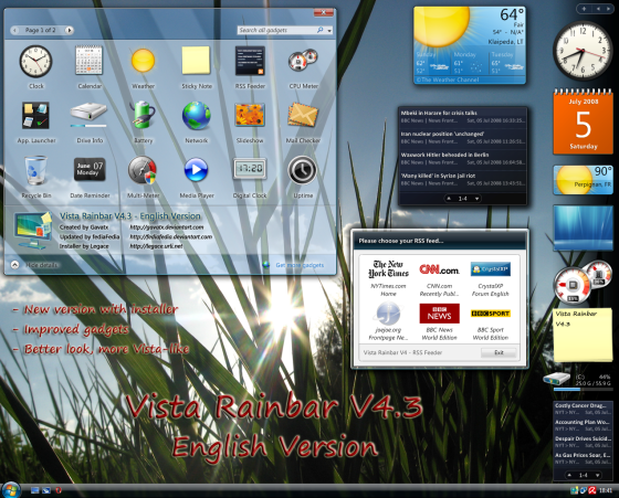 Vista Rainbar V4 by Gavatx Best Rainmeter Themes / Skins Collection   2011
