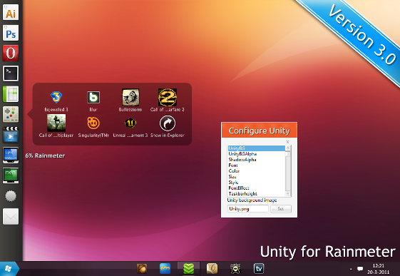unity for rainmeter 3 0 by hello 123456 d3c2ca1 Best Rainmeter Themes / Skins Collection   2011