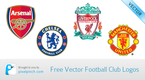 Football Club Vector Icons Manchester United, Arsenal, Chelsea & Liverpool Football Club Free Vector Logos