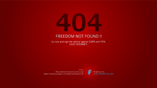 404 b Freedom Not Found Say No To SOPA 1350x760 PixelPinch Wallpapers and Facebook Cover to protest SOPA & PIPA act