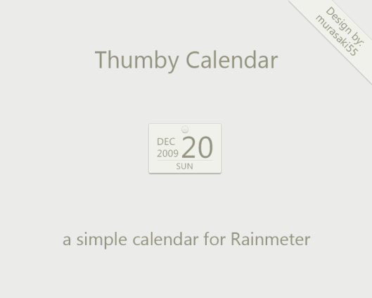 Thumby Calendar Rainmeter by murasaki55 Best date, time and calendar Rainmeter skins / themes