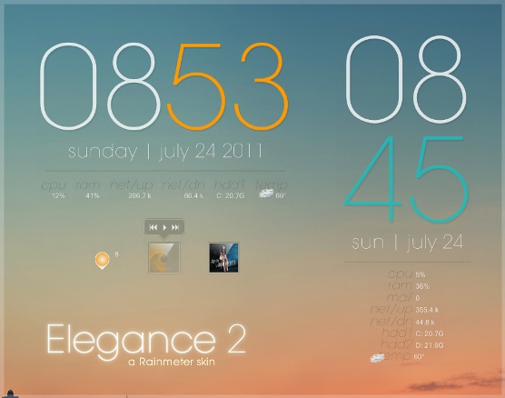 rainmeter   elegance 2 by lilshizzy Best date, time and calendar Rainmeter skins / themes