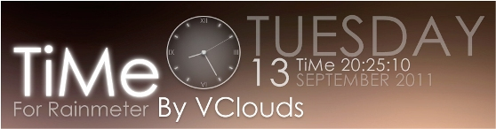 time by vclouds Best date, time and calendar Rainmeter skins / themes